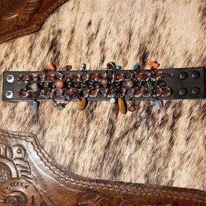 Jewelry - Leather Cuff Bracelet w/Dangle Precious Stones